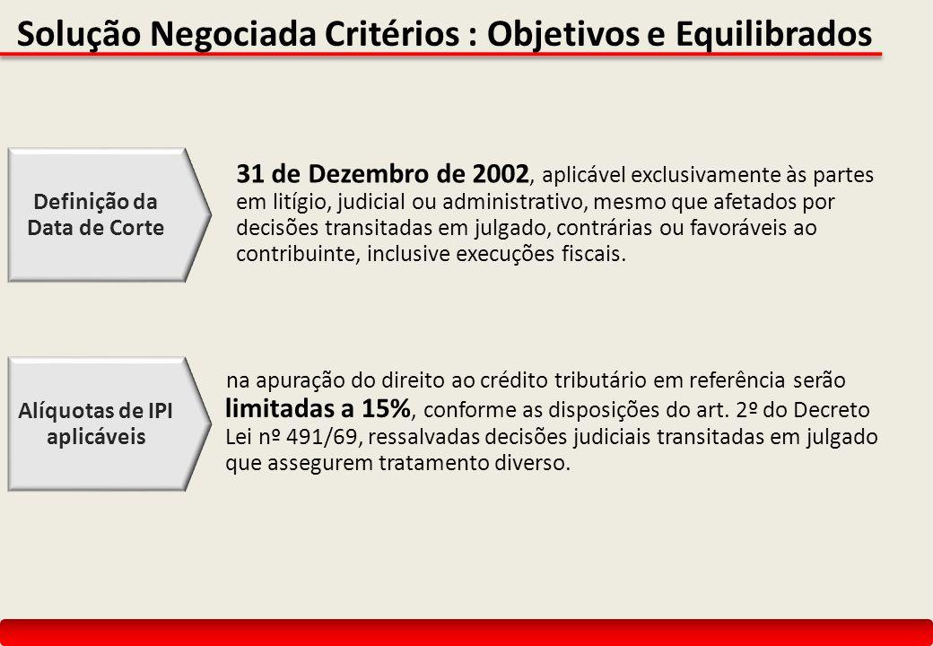 Solução Negociada Critérios : Objetivos e Equilibrados 31 de Dezembro de 2002, aplicável exclusivamente às partes em litígio, judicial ou administrativo, mesmo que afetados por decisões transitadas em julgado, contrárias ou favoráveis ao contribuinte, inclusive execuções fiscais.