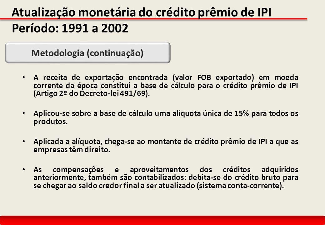 Atualização monetária do crédito prêmio de IPI Período: 1991 a 2002 A receita de exportação encontrada (valor FOB exportado) em moeda corrente da época constitui a base de cálculo para o crédito prêmio de IPI (Artigo 2º do Decreto-lei 491/69).