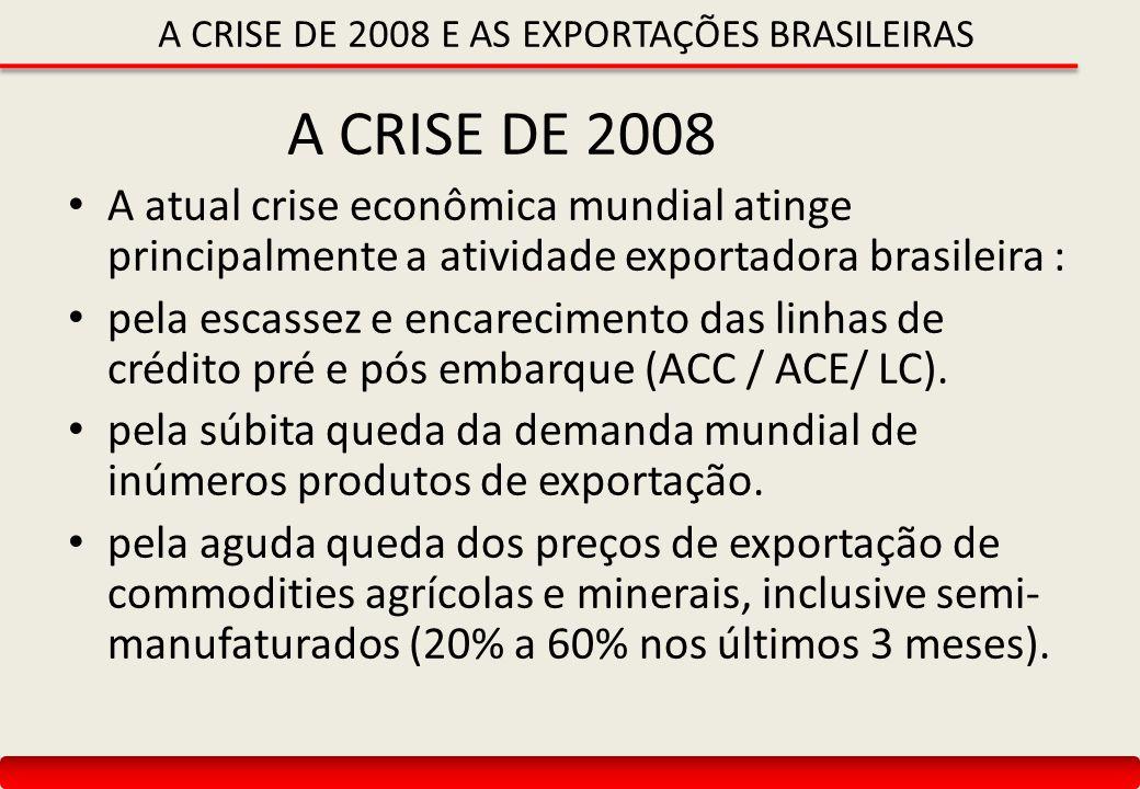 A CRISE DE 2008 E AS EXPORTAÇÕES BRASILEIRAS A CRISE DE 2008 A atual crise econômica mundial atinge principalmente a atividade exportadora brasileira