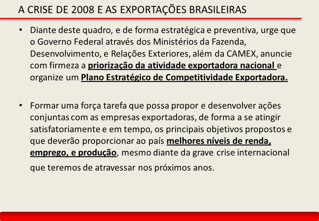 A CRISE DE 2008 E AS EXPORTAÇÕES BRASILEIRAS Diante deste quadro, e de forma estratégica e preventiva, urge que o Governo Federal através dos Ministér