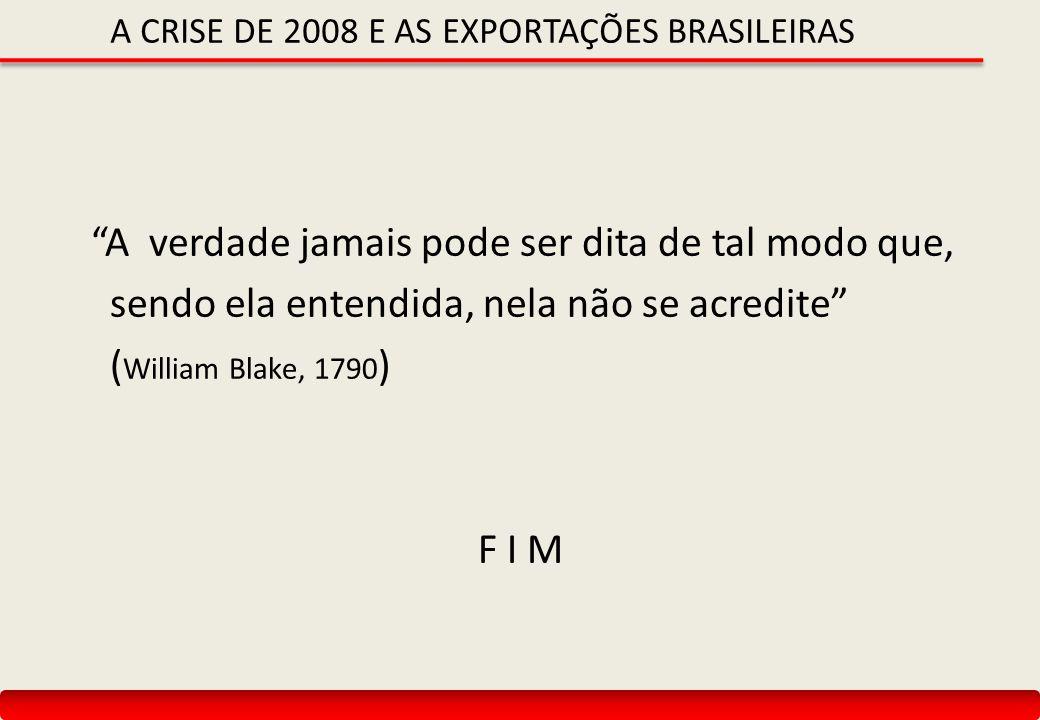 A CRISE DE 2008 E AS EXPORTAÇÕES BRASILEIRAS A verdade jamais pode ser dita de tal modo que, sendo ela entendida, nela não se acredite ( William Blake, 1790 ) F I M