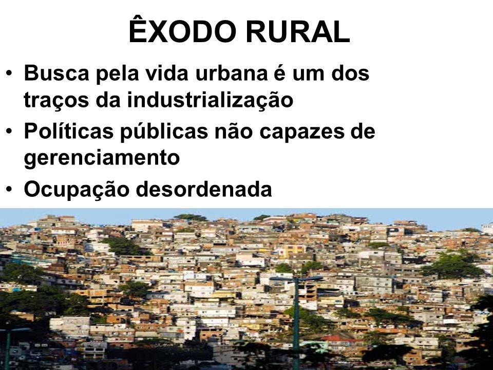 ÊXODO RURAL Busca pela vida urbana é um dos traços da industrialização Políticas públicas não capazes de gerenciamento Ocupação desordenada