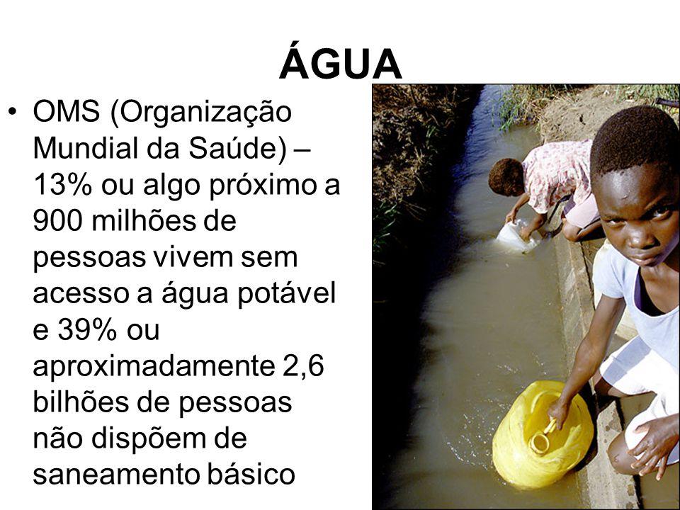 ÁGUA OMS (Organização Mundial da Saúde) – 13% ou algo próximo a 900 milhões de pessoas vivem sem acesso a água potável e 39% ou aproximadamente 2,6 bi