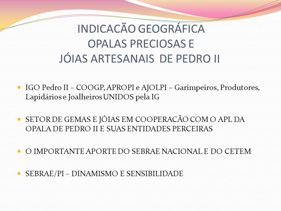 INDICACÃO GEOGRÁFICA OPALAS PRECIOSAS E JÓIAS ARTESANAIS DE PEDRO II IGO Pedro II – COOGP, APROPI e AJOLPI – Garimpeiros, Produtores, Lapidários e Joa
