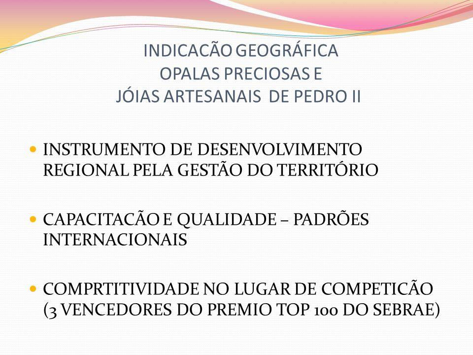INDICACÃO GEOGRÁFICA OPALAS PRECIOSAS E JÓIAS ARTESANAIS DE PEDRO II PARCERIA PÚBLICO (MUNICIPAL, ESTADUAL E NACIONAL) PRIVADO FOCADA NO DESENVOLVIMENTO CRESCIMENTO ANUAL DE 30% A 40% (últimos 3 anos) REDUCÃO DA INFORMALIDADE FORMACÃO DE LIDERANCAS EMPREENDEDORAS BUSCA DE NOVOS MERCADOS