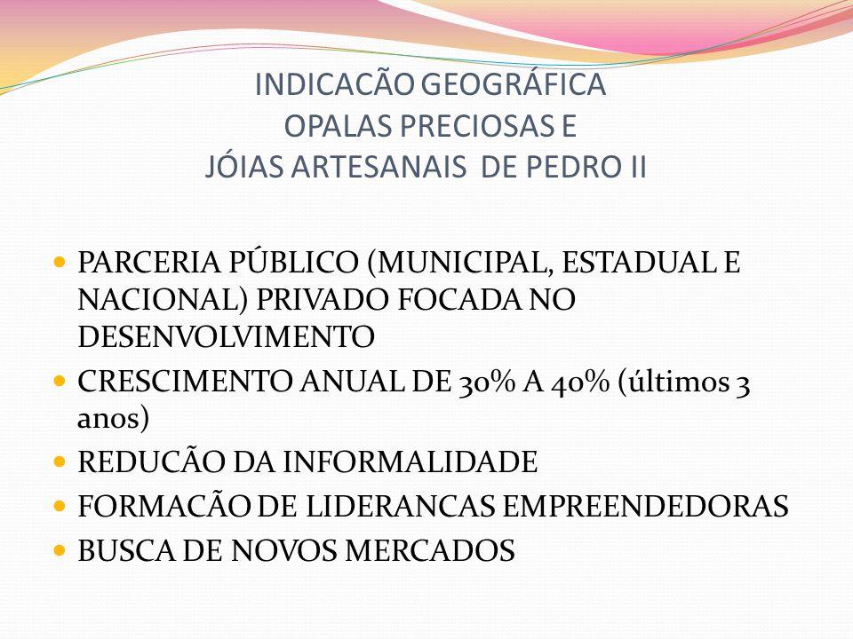 INDICACÃO GEOGRÁFICA OPALAS PRECIOSAS E JÓIAS ARTESANAIS DE PEDRO II GESTÃO COLETIVA com MODELO EMPRESARIAL da PRODUÇÃO DE OPALAS PRECIOSAS E JÓIAS ARTESANAIS conforme PADRÕES BEM DEFINIDOS com MECANISMOS DE CONTROLE para ASSEGURAR A COMERCIALIZAÇÃO e DESENVOLVER a ECONOMIA DA REGIÃO PRODUTORA de FORMA SUSTENTÁVEL.