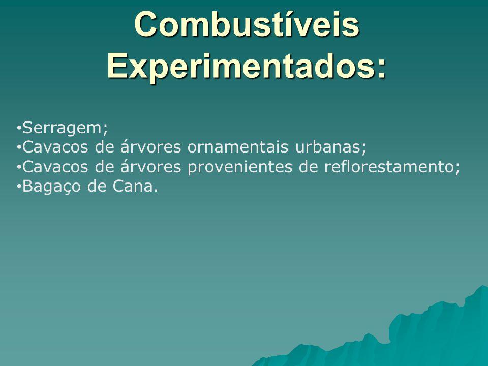 Combustíveis Experimentados: Serragem; Cavacos de árvores ornamentais urbanas; Cavacos de árvores provenientes de reflorestamento; Bagaço de Cana.