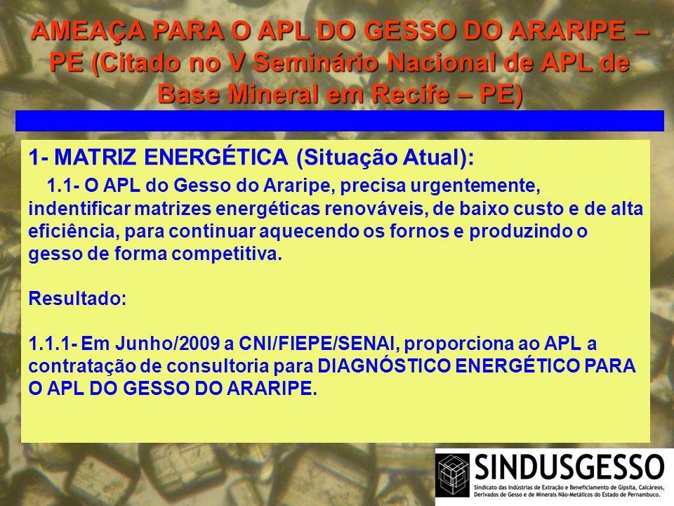 AMEAÇA PARA O APL DO GESSO DO ARARIPE – PE (Citado no V Seminário Nacional de APL de Base Mineral em Recife – PE) 1- MATRIZ ENERGÉTICA (Situação Atual