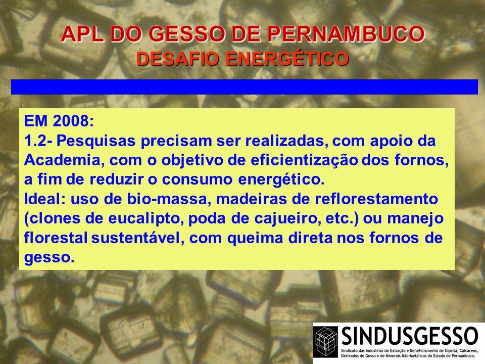 EM 2008: 1.2- Pesquisas precisam ser realizadas, com apoio da Academia, com o objetivo de eficientização dos fornos, a fim de reduzir o consumo energé
