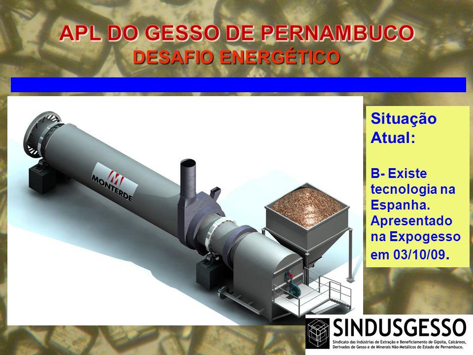 Situação Atual: B- Existe tecnologia na Espanha. Apresentado na Expogesso em 03/10/09.