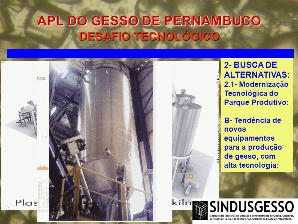 2- BUSCA DE ALTERNATIVAS: 2.1- Modernização Tecnológica do Parque Produtivo: B- Tendência de novos equipamentos para a produção de gesso, com alta tec
