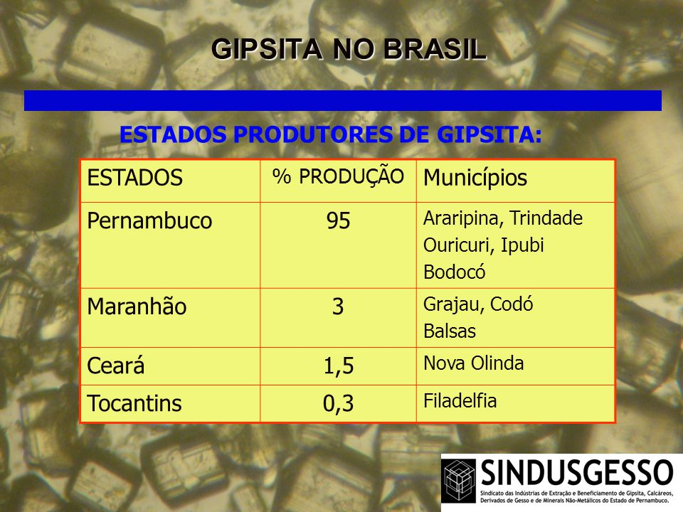 GIPSITA NO BRASIL ESTADOS PRODUTORES DE GIPSITA: ESTADOS % PRODUÇÃO Municípios Pernambuco95 Araripina, Trindade Ouricuri, Ipubi Bodocó Maranhão3 Graja