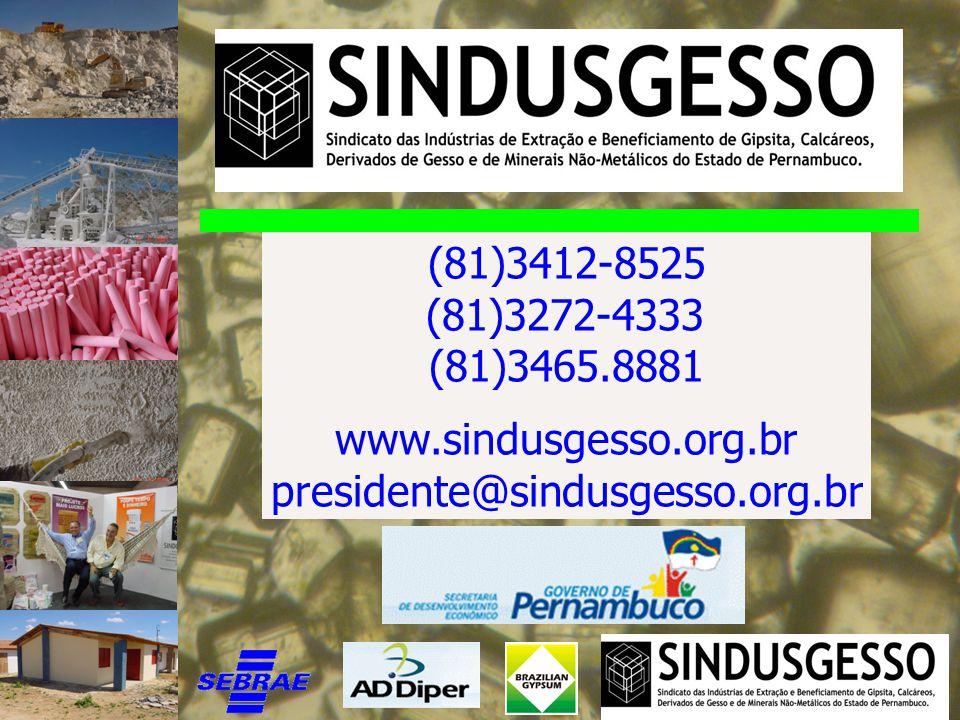 (81)3412-8525 (81)3272-4333 (81)3465.8881 www.sindusgesso.org.br presidente@sindusgesso.org.br