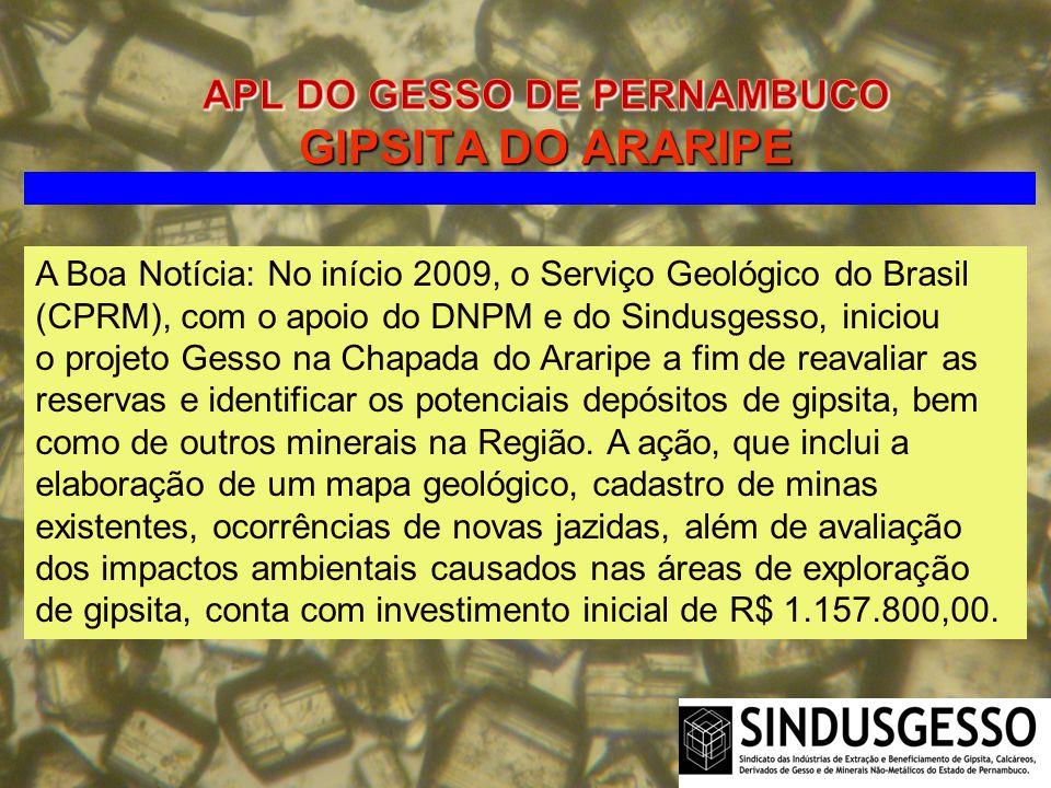 A Boa Notícia: No início 2009, o Serviço Geológico do Brasil (CPRM), com o apoio do DNPM e do Sindusgesso, iniciou o projeto Gesso na Chapada do Arari