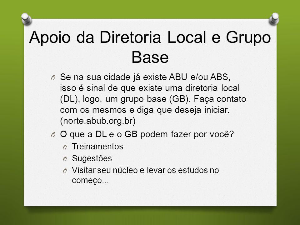 Apoio da Diretoria Local e Grupo Base O Se na sua cidade já existe ABU e/ou ABS, isso é sinal de que existe uma diretoria local (DL), logo, um grupo base (GB).