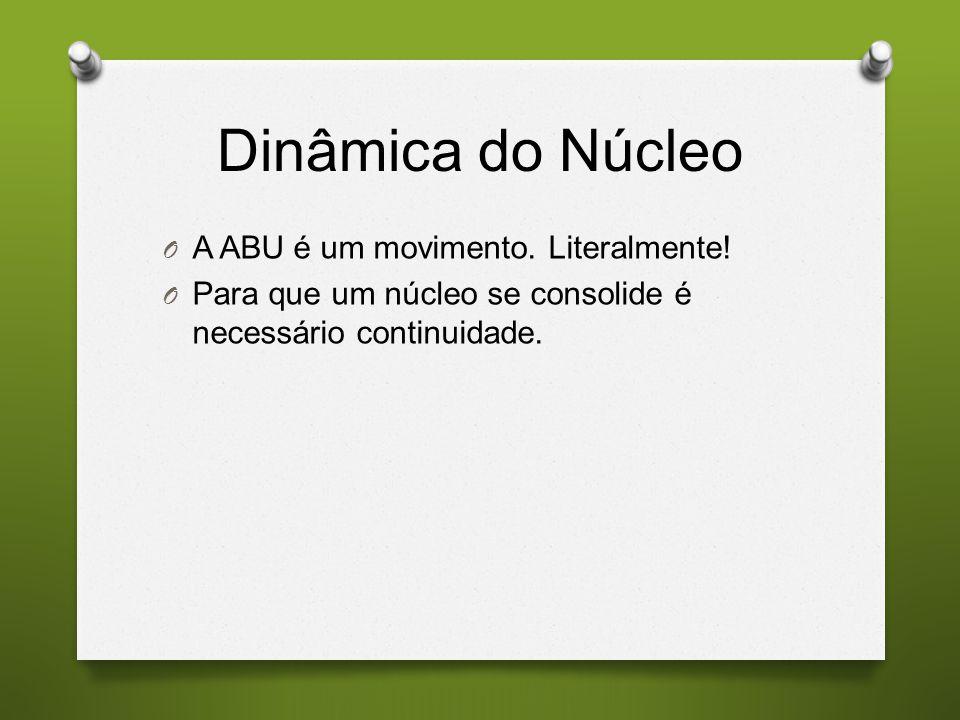 Dinâmica do Núcleo O A ABU é um movimento. Literalmente! O Para que um núcleo se consolide é necessário continuidade.