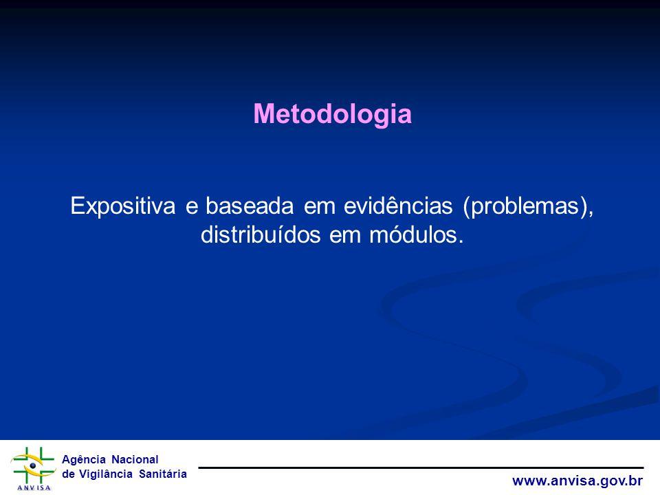 Agência Nacional de Vigilância Sanitária www.anvisa.gov.br Metodologia Expositiva e baseada em evidências (problemas), distribuídos em módulos.