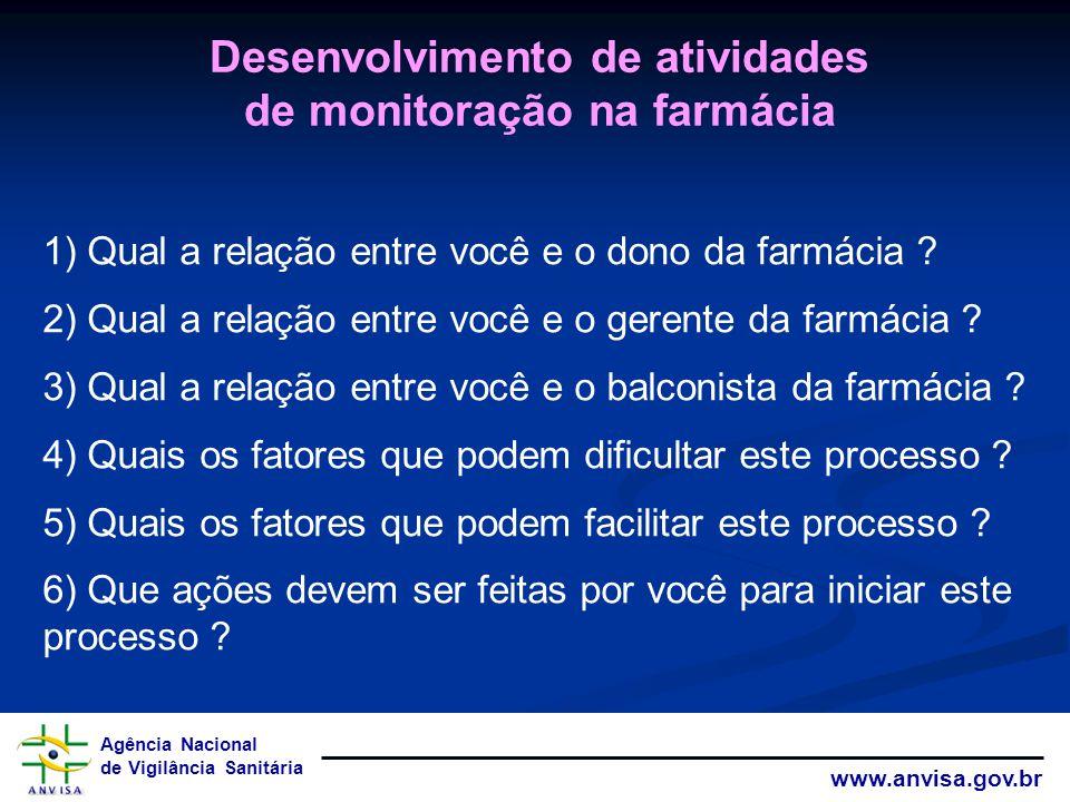 Agência Nacional de Vigilância Sanitária www.anvisa.gov.br 1) Qual a relação entre você e o dono da farmácia ? 2) Qual a relação entre você e o gerent