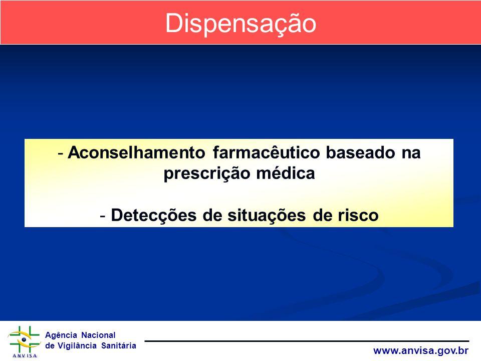 Agência Nacional de Vigilância Sanitária www.anvisa.gov.br Dispensação - Aconselhamento farmacêutico baseado na prescrição médica - Detecções de situa