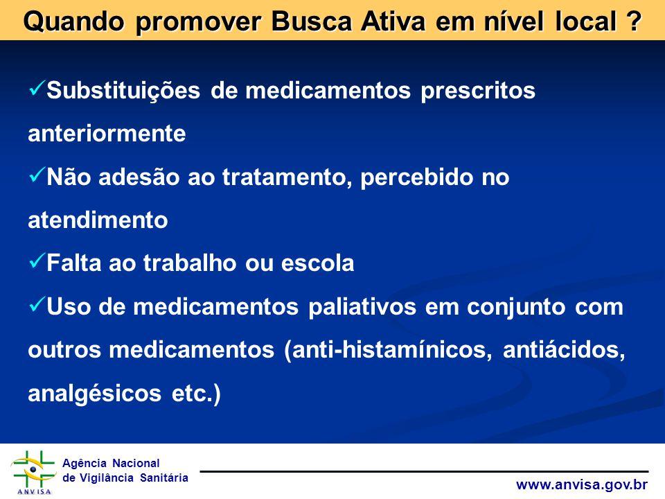 Agência Nacional de Vigilância Sanitária www.anvisa.gov.br Substituições de medicamentos prescritos anteriormente Não adesão ao tratamento, percebido