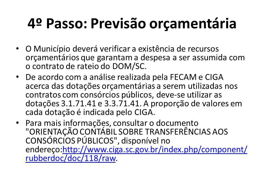 4º Passo: Previsão orçamentária O Município deverá verificar a existência de recursos orçamentários que garantam a despesa a ser assumida com o contrato de rateio do DOM/SC.