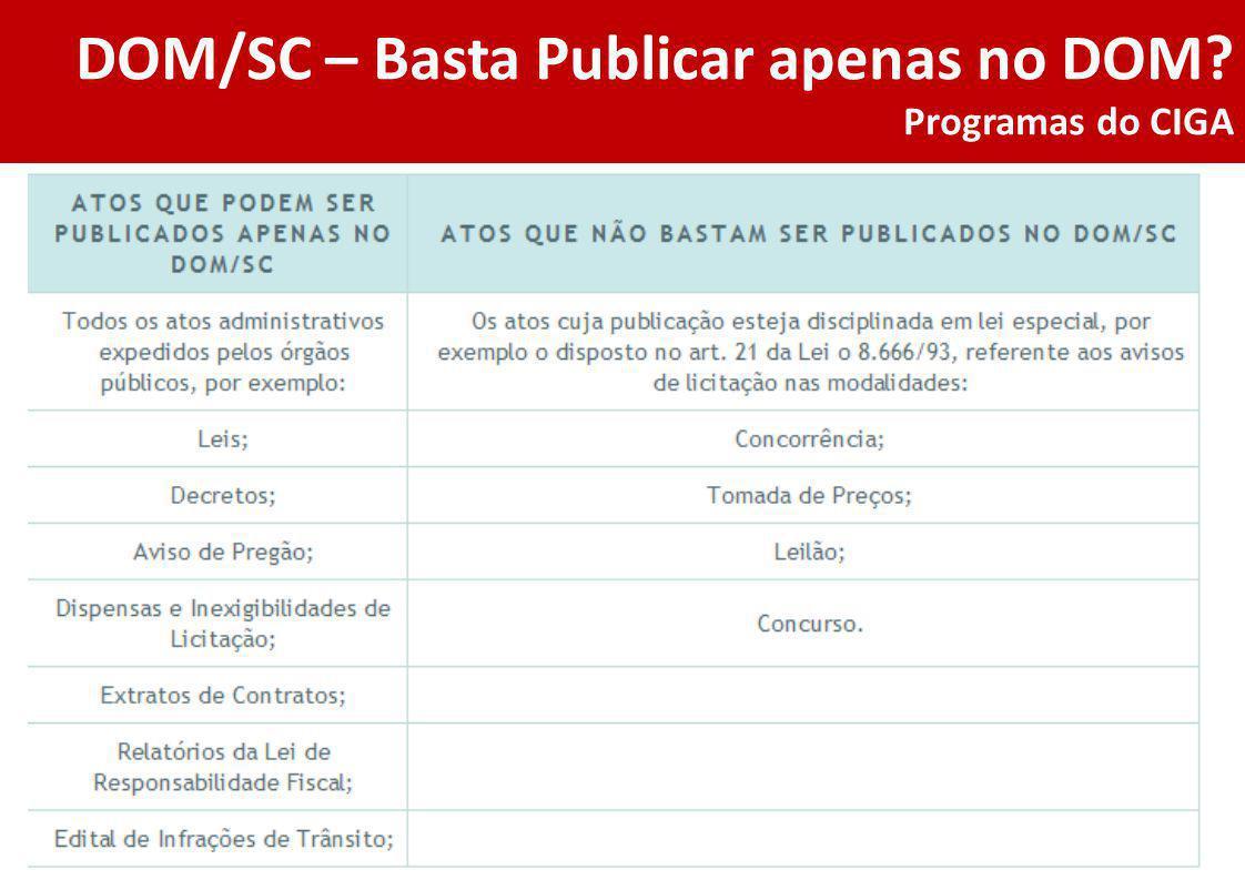 DOM/SC – Basta Publicar apenas no DOM Programas do CIGA