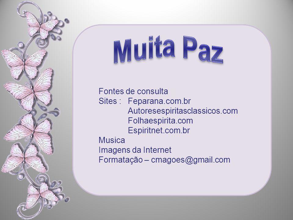 Fontes de consulta Sites : Feparana.com.br Autoresespiritasclassicos.com Folhaespirita.com Espiritnet.com.br Musica Imagens da Internet Formatação – cmagoes@gmail.com