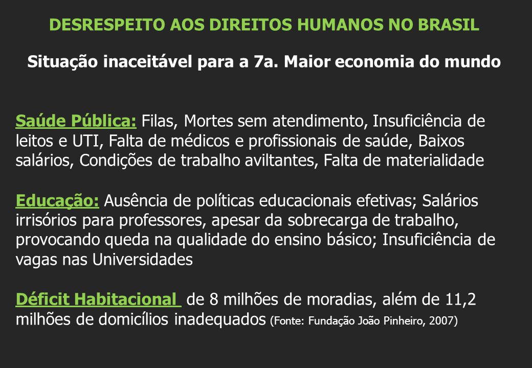 DESRESPEITO AOS DIREITOS HUMANOS NO BRASIL Situação inaceitável para a 7a. Maior economia do mundo Saúde Pública: Filas, Mortes sem atendimento, Insuf