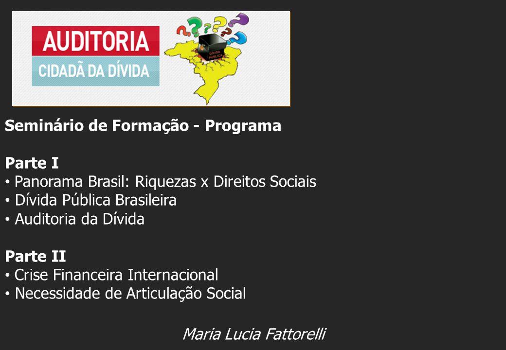 Seminário de Formação - Programa Parte I Panorama Brasil: Riquezas x Direitos Sociais Dívida Pública Brasileira Auditoria da Dívida Parte II Crise Fin