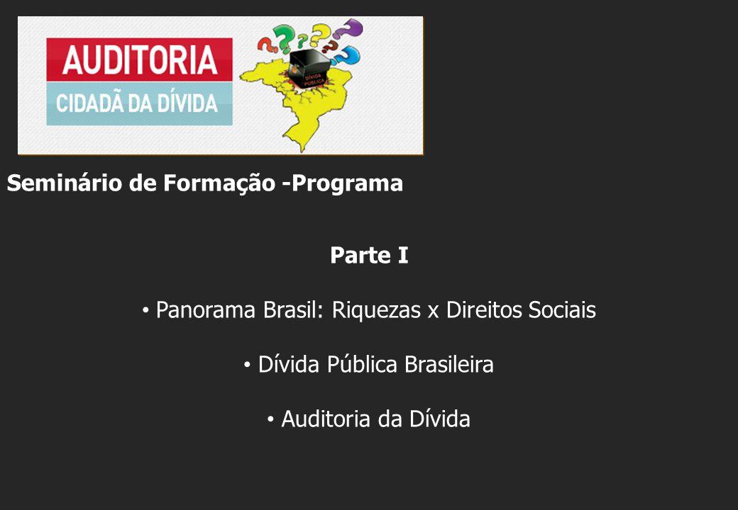 Seminário de Formação -Programa Parte I Panorama Brasil: Riquezas x Direitos Sociais Dívida Pública Brasileira Auditoria da Dívida
