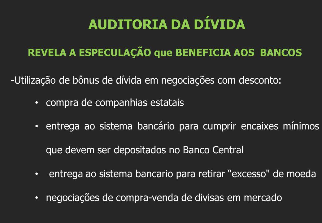AUDITORIA DA DÍVIDA REVELA A ESPECULAÇÃO que BENEFICIA AOS BANCOS -Utilização de bônus de dívida em negociações com desconto: compra de companhias est