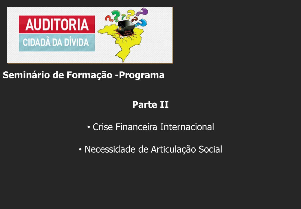 Seminário de Formação -Programa Parte II Crise Financeira Internacional Necessidade de Articulação Social