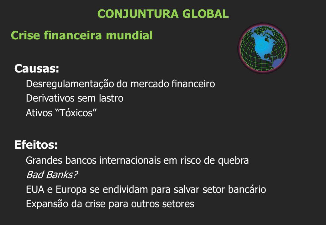 """CONJUNTURA GLOBAL Crise financeira mundial Causas: Desregulamentação do mercado financeiro Derivativos sem lastro Ativos """"Tóxicos"""" Efeitos: Grandes ba"""