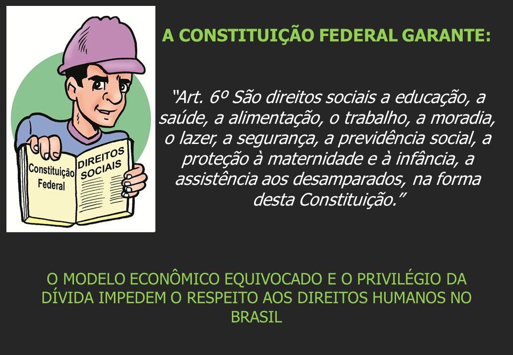 """A CONSTITUIÇÃO FEDERAL GARANTE: """"Art. 6º São direitos sociais a educação, a saúde, a alimentação, o trabalho, a moradia, o lazer, a segurança, a previ"""