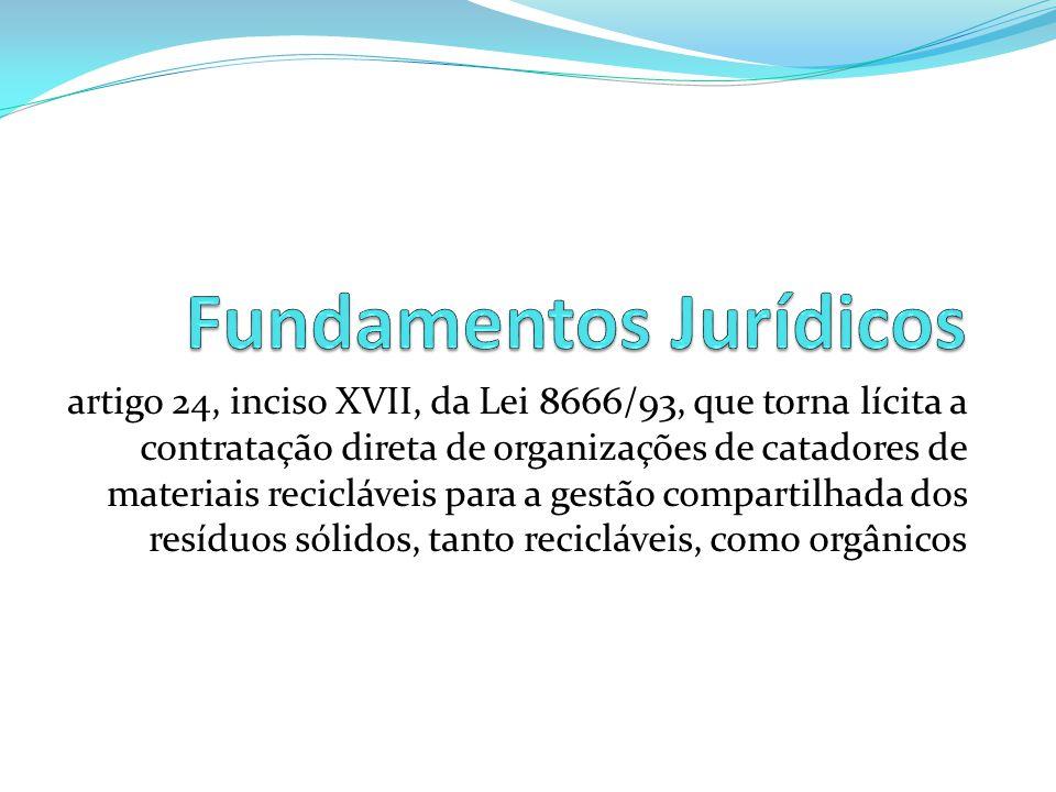 artigo 24, inciso XVII, da Lei 8666/93, que torna lícita a contratação direta de organizações de catadores de materiais recicláveis para a gestão comp
