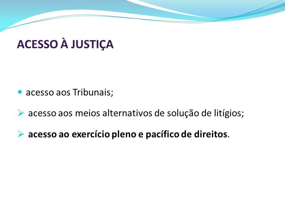 ACESSO À JUSTIÇA acesso aos Tribunais;  acesso aos meios alternativos de solução de litígios;  acesso ao exercício pleno e pacífico de direitos.