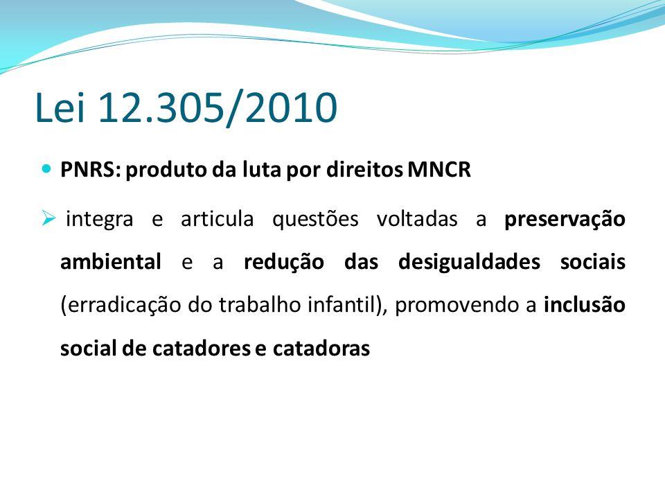 Lei 12.305/2010 PNRS: produto da luta por direitos MNCR  integra e articula questões voltadas a preservação ambiental e a redução das desigualdades s