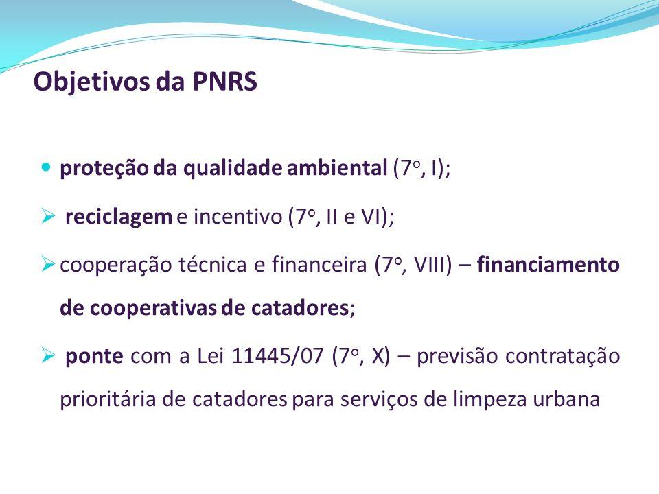 Objetivos da PNRS proteção da qualidade ambiental (7 o, I);  reciclagem e incentivo (7 o, II e VI);  cooperação técnica e financeira (7 o, VIII) – f