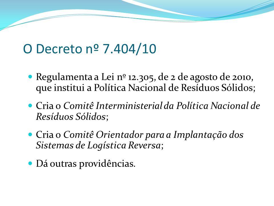 O Decreto nº 7.404/10 Regulamenta a Lei nº 12.305, de 2 de agosto de 2010, que institui a Política Nacional de Resíduos Sólidos; Cria o Comitê Intermi