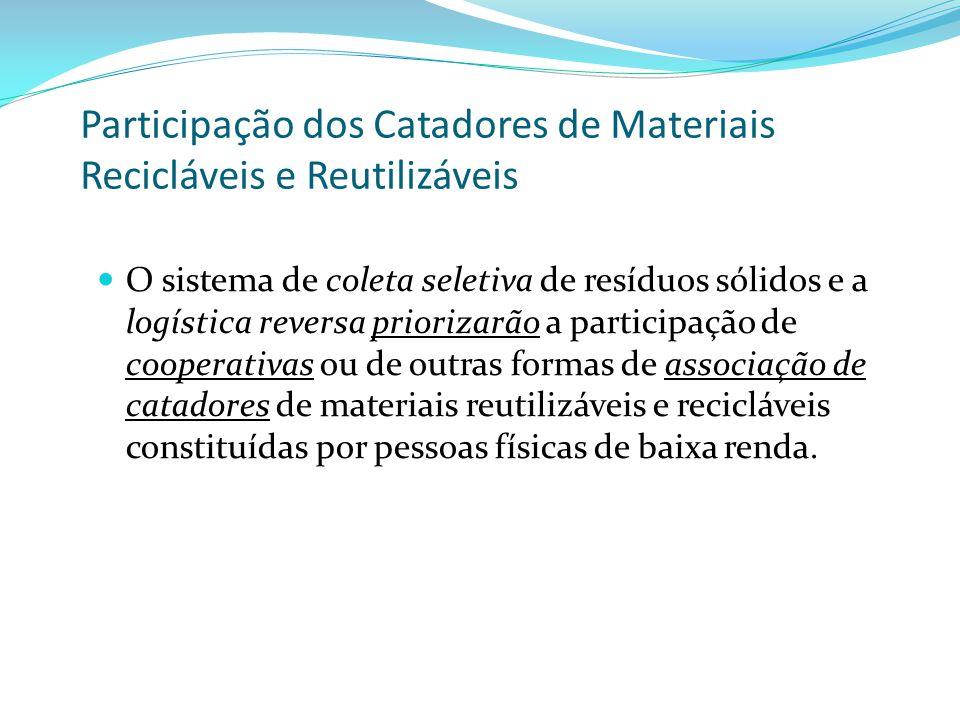 Participação dos Catadores de Materiais Recicláveis e Reutilizáveis O sistema de coleta seletiva de resíduos sólidos e a logística reversa priorizarão