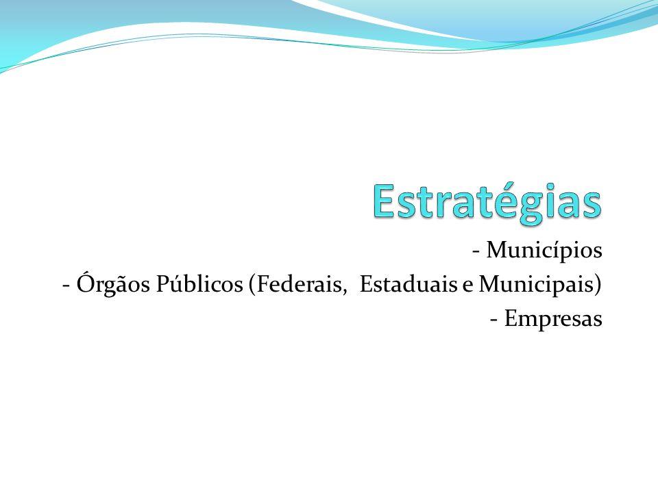 - Municípios - Órgãos Públicos (Federais, Estaduais e Municipais) - Empresas
