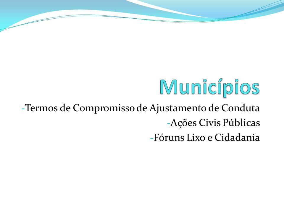 - Termos de Compromisso de Ajustamento de Conduta - Ações Civis Públicas - Fóruns Lixo e Cidadania