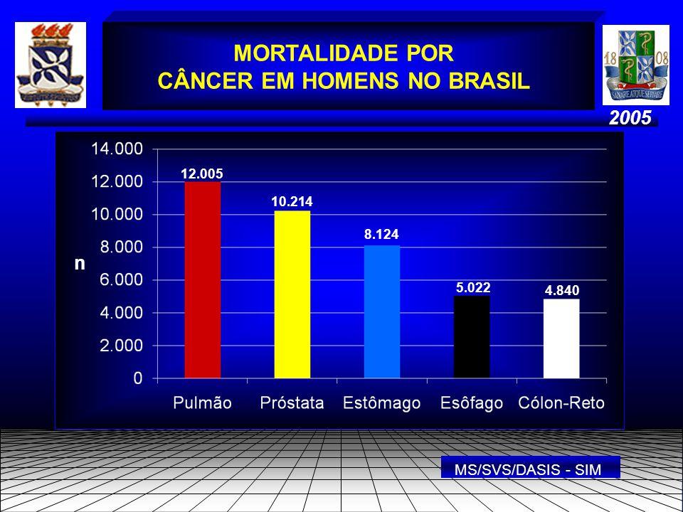 2005 MORTALIDADE POR CÂNCER EM HOMENS NO BRASIL n 12.005 10.214 8.124 5.022 4.840 MS/SVS/DASIS - SIM