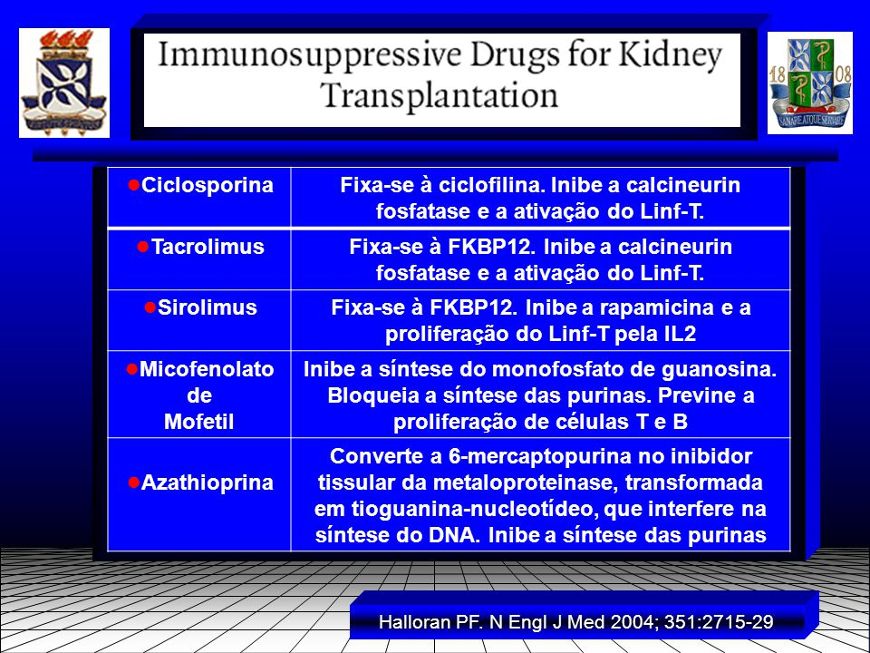 ● CiclosporinaFixa-se à ciclofilina. Inibe a calcineurin fosfatase e a ativação do Linf-T.