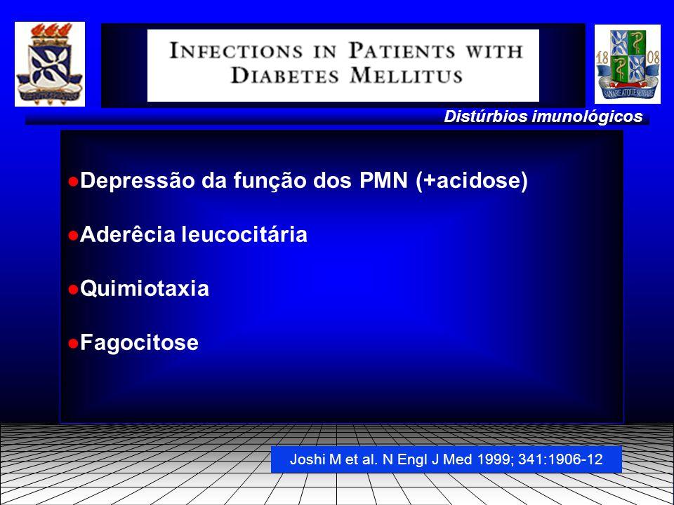 ●Depressão da função dos PMN (+acidose) ●Aderêcia leucocitária ●Quimiotaxia ●Fagocitose Distúrbios imunológicos Joshi M et al.