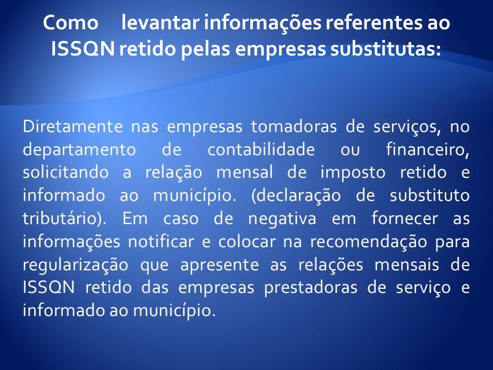 Como levantar informações referentes ao ISSQN retido pelas empresas substitutas: Diretamente nas empresas tomadoras de serviços, no departamento de contabilidade ou financeiro, solicitando a relação mensal de imposto retido e informado ao município.