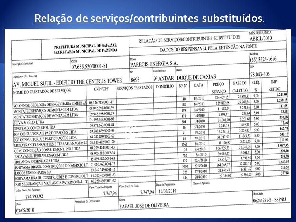 Relação de serviços/contribuintes substituídos.