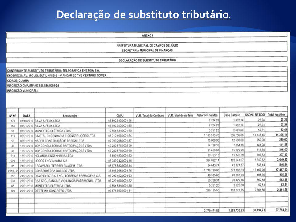 Declaração de substituto tributário.