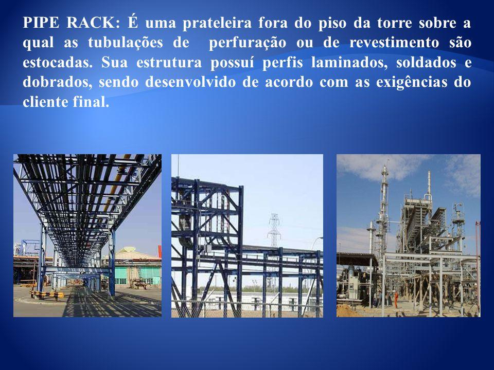 PIPE RACK: É uma prateleira fora do piso da torre sobre a qual as tubulações de perfuração ou de revestimento são estocadas. Sua estrutura possuí perf