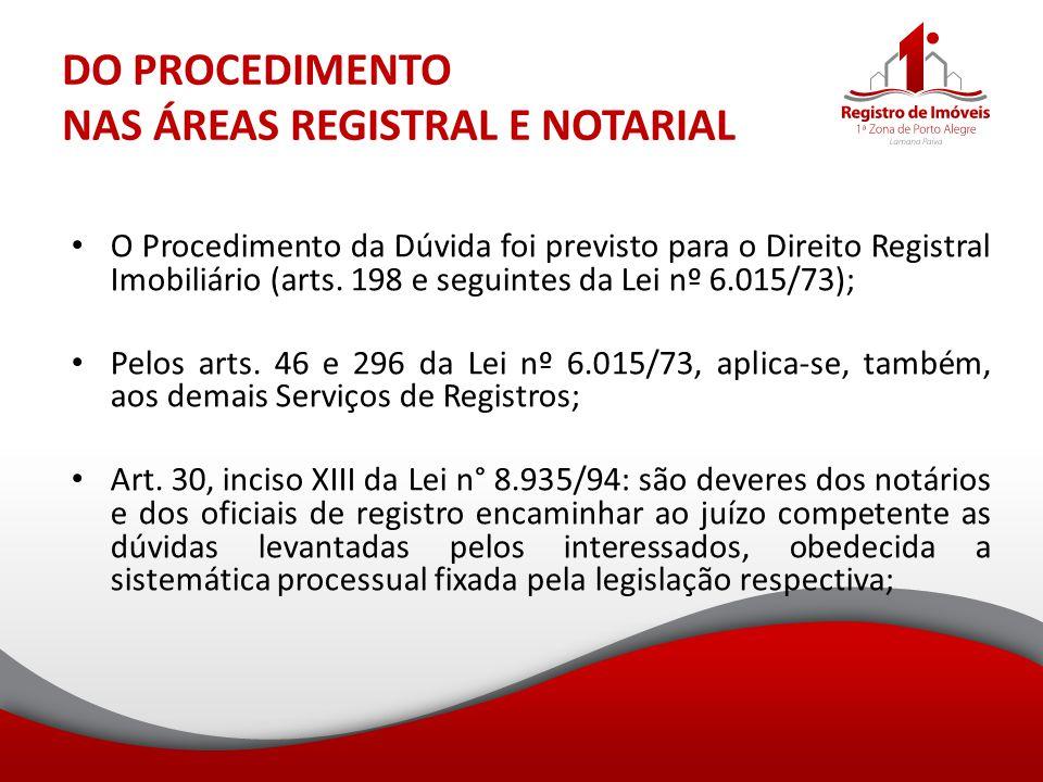 DO PROCEDIMENTO NAS ÁREAS REGISTRAL E NOTARIAL O Procedimento da Dúvida foi previsto para o Direito Registral Imobiliário (arts. 198 e seguintes da Le
